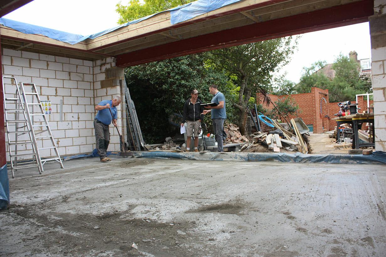 Builders meeting on site
