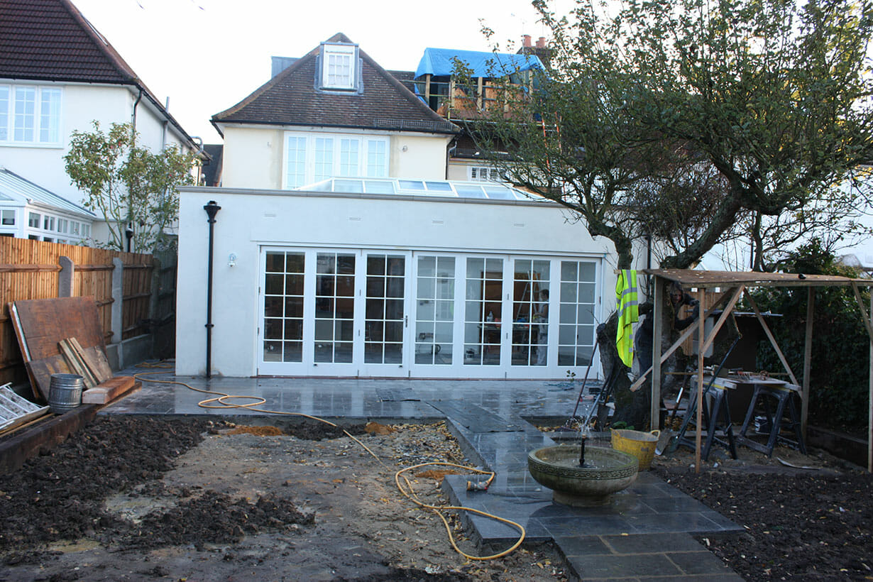 Newly laid patio paving