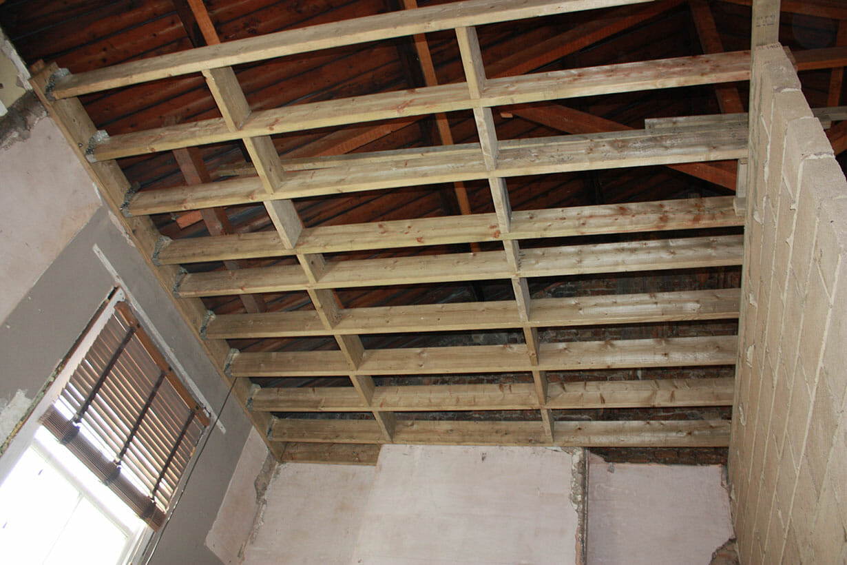 Wooden ceiling joists