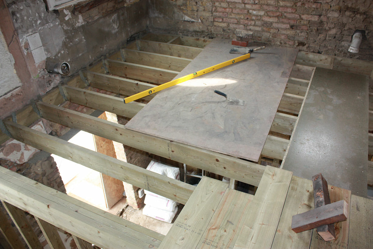 View through ceiling joists from above