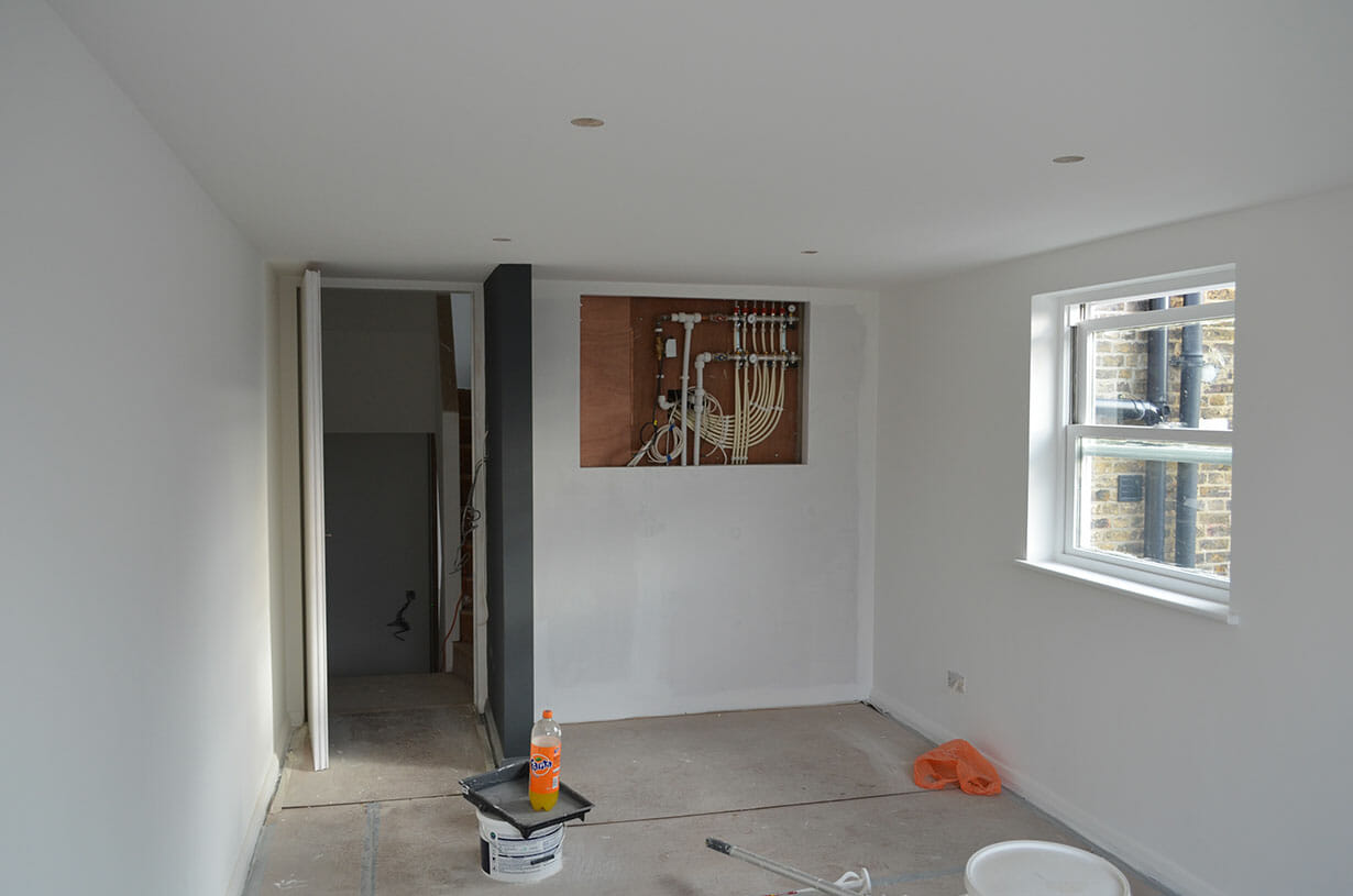 Pipework in wall